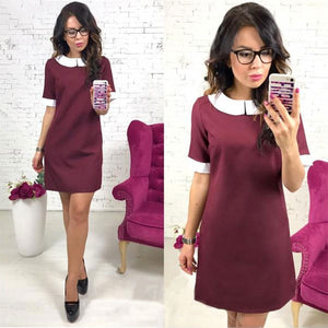 Short Sleeve Solid Peter Pan Collar Mini Dress Women Straight Above-knee Dresses Summer Party Club Mini Ladies Casual Dress 2019