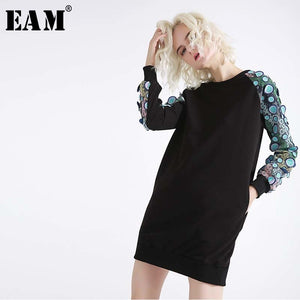 [EAM]2019 New Spring  Winter Round Neck Long Sleeve Blue Three-dimensional Embroidery Stitch Loose Dress Women Fashion JH332