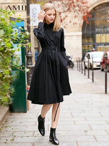 Amii Minimalist Women A Line Shirt Dresses Spring 2019 Elegant Solid 100% Cotton Long Sleeve Loose Notched Office Female Dress