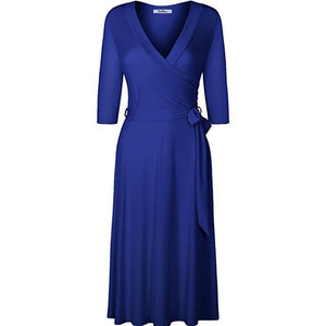 Women A-Line solid cotton dress summer casual sundress v-neck sexy holiday robe elegant party modal plus size office vestidos