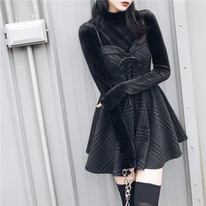New arrival Autumn Winter Women gray Plaid Pleated Dress Sling Strap Backless Rock Punk Dress Gothic Girls Female Short Dresses