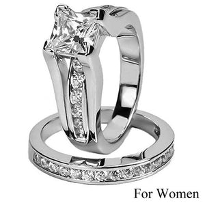 Princess Cut Cubic Zirconia Couples Rings Stainless Steel Wedding Ring Set for Women and Men Party Jewelry Wholesale