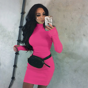 ZHYMIHRET 2018 Autumn Winter Bright Neon Color Dress Long Sleeve Skinny Mini Sexy Turtleneck Dress Party Ribbed Vestidos femme