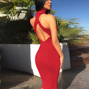 Nibber autumn winter new Ribbed Knitted red dresses women sexy backless fashion high waist women pop Christmas party solid dress