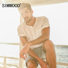Load image into Gallery viewer, SIMWOOD 2019 Summer Causal  Shirts Men Shorts Sleeve 100% Pure Linen  Breathable Henry Collar Slim Fit Brand Clothing CD017001