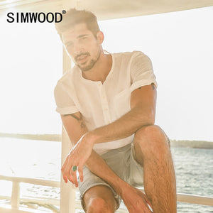 SIMWOOD 2019 Summer Causal  Shirts Men Shorts Sleeve 100% Pure Linen  Breathable Henry Collar Slim Fit Brand Clothing CD017001