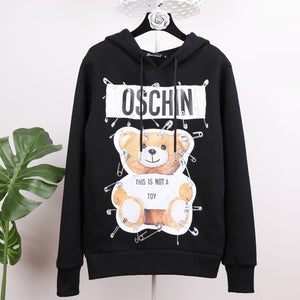 female 2018 autumn and winter new plus velvet women's hooded tide brand coat Explosive models bear letter printing