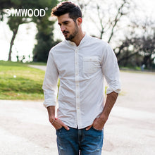 Load image into Gallery viewer, SIMWOOD 2019 spring Shirts Men Mandarin Collar Slim Fit Nylon Fashion Side Pocket Shirt Male Plus Size Brand Clothing  180066