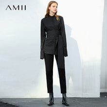 Load image into Gallery viewer, Amii Minimalist Women 2019 Autumn Blouse Office Lady High Quality Original Design Stripe with Waist Belt Female Blouses Shirts