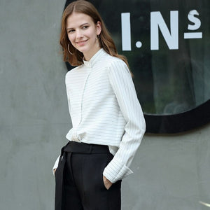 Amii Minimalist Women 2019 Autumn Blouse Office Lady High Quality Original Design Stripe with Waist Belt Female Blouses Shirts