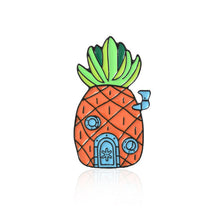 Load image into Gallery viewer, GDHY Cartoon SpongeBob Series Brooches Animation Pineapple Hut Octopus Sea Stars Barnacle Boy Enamel Pins Button Badge For Kids
