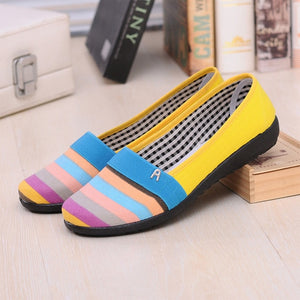 KHTAA Women Flats Casual Loafers Female Spring Ladies Footwear Candy Color Stripe Shoes Slip On Comfortable Soft Flat Shoes