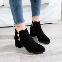 Load image into Gallery viewer, Winter Women Pumps Boots New Spring High Quality Side Zipper European Ladies Shoes PU High Heels Boots Zapatos De Mujer