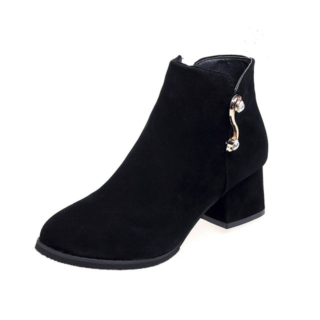Winter Women Pumps Boots New Spring High Quality Side Zipper European Ladies Shoes PU High Heels Boots Zapatos De Mujer