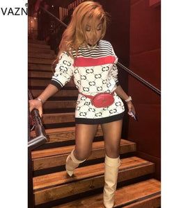 VAZN 2018 autumn hot sexy print bodycon mini dress women full sleeve o-neck dress sexy ladies hollow out skinny dress LSD8256
