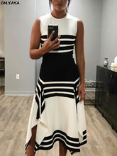 Load image into Gallery viewer, New women sleeve less o-neck black white stripes irregular hem a-line long maxi dress fashion casual vestidos 2 colors GLA6077