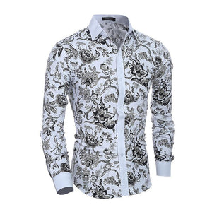 Men Flower Shirt 2019 New 3D Printing Fashion Casual Slim Fit Hawaiian Dress Shirts Camisa Masculina Chemise Homme Shirt men
