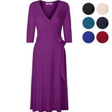 Load image into Gallery viewer, Women A-Line solid cotton dress summer casual sundress v-neck sexy holiday robe elegant party modal plus size office vestidos