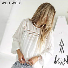 Load image into Gallery viewer, WOTWOY White Hollow Out  Blouses Womens 2019 New Spring  Long Sleeve Shirts Casual Streatwear Womens Tops and Blouses Harajuku