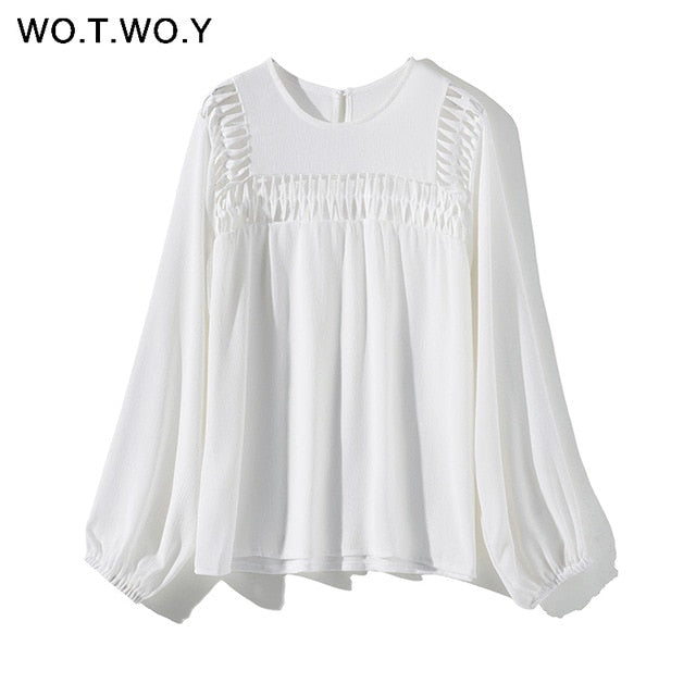 WOTWOY White Hollow Out  Blouses Womens 2019 New Spring  Long Sleeve Shirts Casual Streatwear Womens Tops and Blouses Harajuku