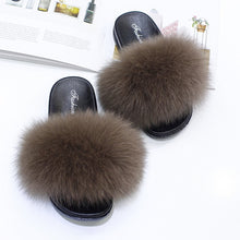 Load image into Gallery viewer, Real Fox Fur Slipper Women Slides Sliders Fashion Spring Summer Autumn Fluffy Fur Lady S6018
