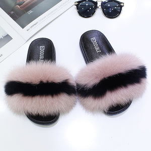 Real Fox Fur Slipper Women Slides Sliders Fashion Spring Summer Autumn Fluffy Fur Lady S6018