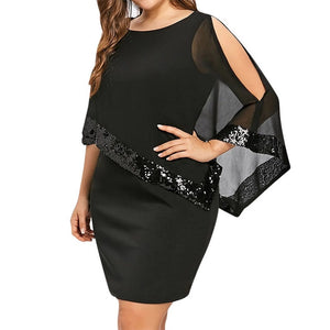 Wipalo Plus Size Elegant Women Party Dress Mesh Sequined Patchwork Asymmetrical Cloak Sleeve Bodycon Dress Solid Casual Vestidos