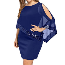 Load image into Gallery viewer, Wipalo Plus Size Elegant Women Party Dress Mesh Sequined Patchwork Asymmetrical Cloak Sleeve Bodycon Dress Solid Casual Vestidos