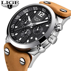 LIGE Top Luxury Brand Chronograph Sports Watches Outdoor Riding Army Military Clock Leather Waterproof Quartz Fashion Watch Men