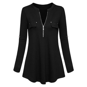Womens Tops and Blouses 2018 Elegant Zipper Long Sleeve V Neck Long Shirts Tunic Ladies Top Clothes Womens Clothing
