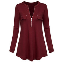 Load image into Gallery viewer, Womens Tops and Blouses 2018 Elegant Zipper Long Sleeve V Neck Long Shirts Tunic Ladies Top Clothes Womens Clothing