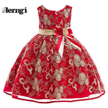 Load image into Gallery viewer, Berngi New Girl Princess Flower Dress Kids Gold Thread Embroidered  Wedding Party Dress For Children's Costume Teenager Prom