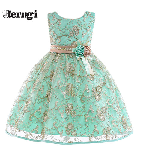Berngi New Girl Princess Flower Dress Kids Gold Thread Embroidered  Wedding Party Dress For Children's Costume Teenager Prom
