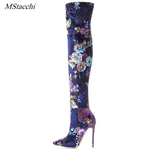 Mstacchi Sexy Stiletto Sock Women Booties Stretch Boots Women High Heels Over The Knee Boots Fashion Botas Mujer Shoes Women
