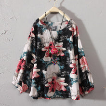 Load image into Gallery viewer, Plus Size Womens Tops And Blouses Vintage Floral Long Sleeve Blouse 2018 Women Clothes Ladies Tops Korean Fashion Clothing