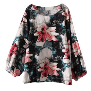 Plus Size Womens Tops And Blouses Vintage Floral Long Sleeve Blouse 2018 Women Clothes Ladies Tops Korean Fashion Clothing