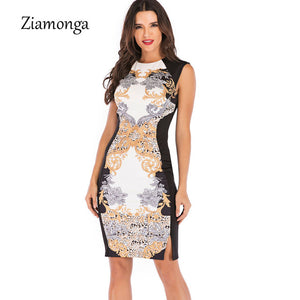 Ziamonga Sexy O-Neck Retro Flower Print Party Bodycon Dress Women Elegant Retro Knee-Length Midi Sheath Pencil Bandage Dress