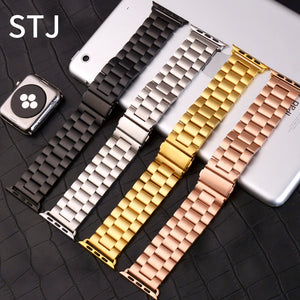 STJ Brand Stainless Steel Strap for Apple Watch Band Series 3/2/1 Magnetic Buckle 38mm 42mm Metal Watchband For iwatch Band