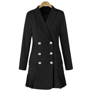 2019 New Spring Women's Windbreaker Lapel Long-sleeved Double-breasted Pleated Temperament Dress Long Suit Jacket