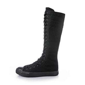 2018 Hot New Fashion Women Platform flat Knee High Boots Fashion Lace Up Spring autumn Canvas Boots White Black W331