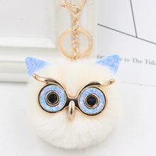 Load image into Gallery viewer, Wholesale Cute Rhinestone Owl Keychain 23 Colors Lovely Fur Pompom Animal Owl Key Chain Women Bag Charm Pendant Car Key Rings