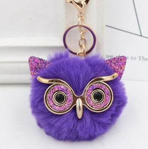 Wholesale Cute Rhinestone Owl Keychain 23 Colors Lovely Fur Pompom Animal Owl Key Chain Women Bag Charm Pendant Car Key Rings