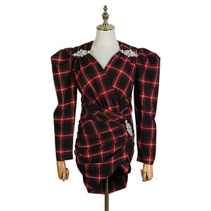 2019 Newest Women Sexy V-neck Dress Long Sleeve Plaid Pattern Cross Crystal Vintage Mini-dress Vestidos Slim Spring Dresses