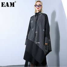 Load image into Gallery viewer, [EAM] 2019 New Spring Summer Lapel Long Sleeve Black Loose Letter Printed Irregular Hem Big Size Shirt Dress Women Fashion JO485