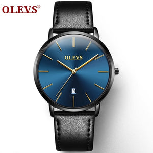Ultra Thin Casual Male Wristwatch Black Leather Mens Watches Business Date Quartz Man Watch Waterproof Men Clock montre homme