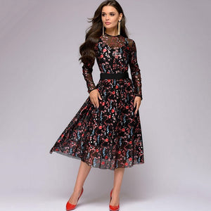 Print Breathable Mesh Yarn Long Dresses Women Summer Autumn Sexy Black Belt Elastic Slim Dress Vintage O-Neck Long Sleeve Dress