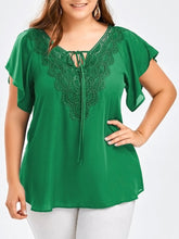Load image into Gallery viewer, Wipalo Fashion Women'S Plus Size Casual Solid Blouse V-Neck Short Flare Sleeve Crochet Lace Trim Shirt Chiffon Tops Ladies Blusa