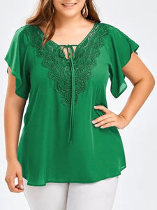 Wipalo Fashion Women'S Plus Size Casual Solid Blouse V-Neck Short Flare Sleeve Crochet Lace Trim Shirt Chiffon Tops Ladies Blusa