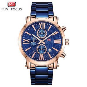 MINI FOCUS Men's Chronograph Watches Luxury Business Dress Quartz Watch for Man Waterproof Relogios Masculino Clock 0219G Blue