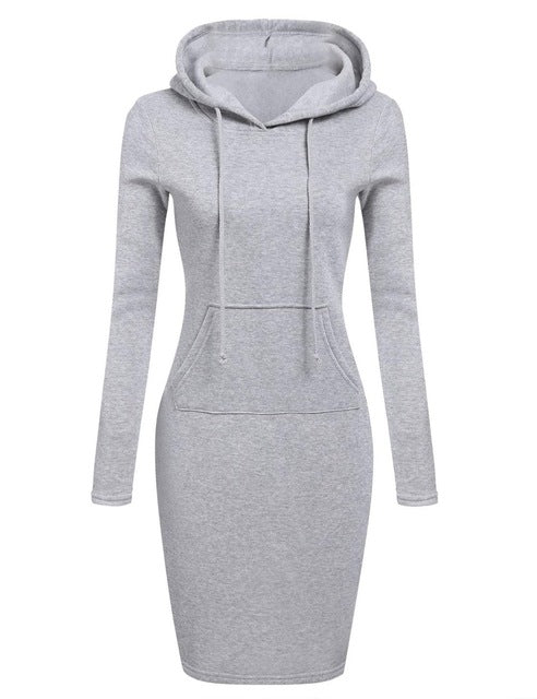FJUN Pullover Sweater Dress 2018  Autumn Winter Warm Sweater Long-sleeved Dress Woman Clothing Hooded Pocket Design Simple Dress